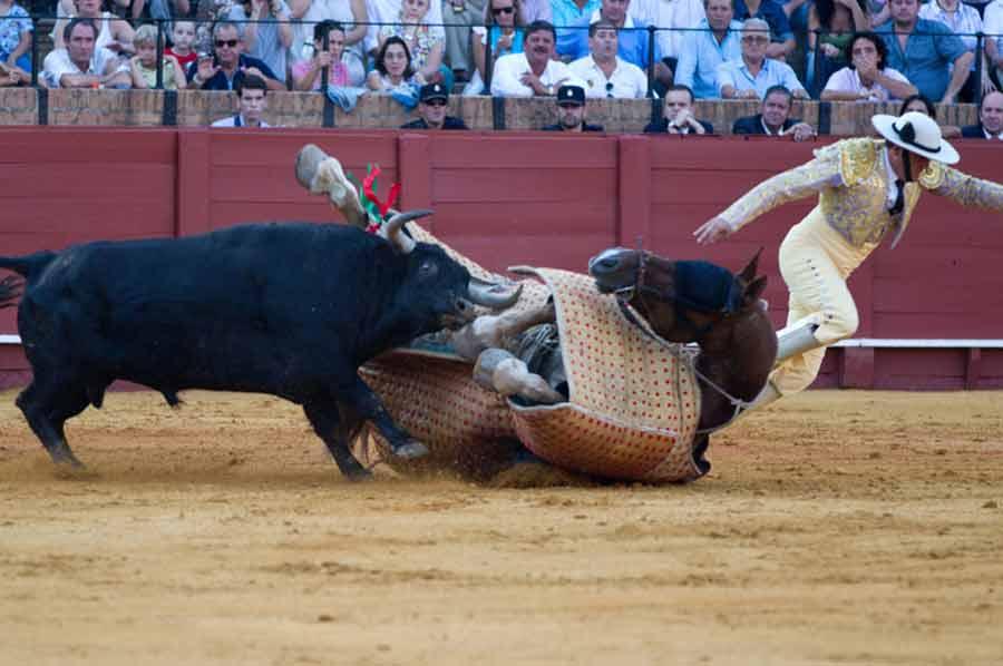 Un espectacular derribo, con el picador pasando algún apuro. (FOTO: Paco Díaz/toroimagen.com)