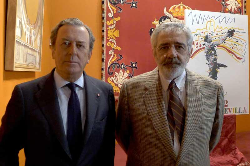 Javier Benjumea, 'jefe' de los maestrantes y arrendador, y Eduardo Canorea, el 'jefe' de la empresa Pagés y arrendatario.