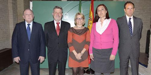 De izquierda a derecha: Julián Salguero, Gabriel Fernández Rey, la polémica delegada Carmen Tovar, Anabel Moreno y Fernando Fernández-Figueroa.