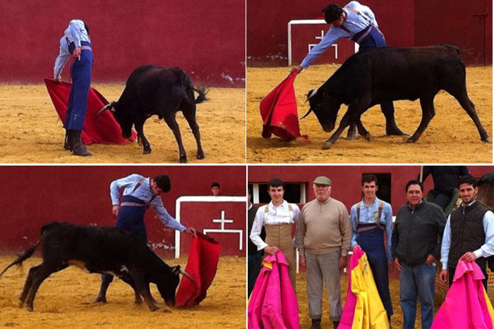 Diversas fases del tentadero de Agustín de Espartinas en la ganadería jerezana de Montes de Oca. (FOTOS: Sevilla Taurina)