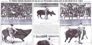 Doble página gráfica de la prensa de la época sobre la histórica faena de Belmonte a 'Barbero'.
