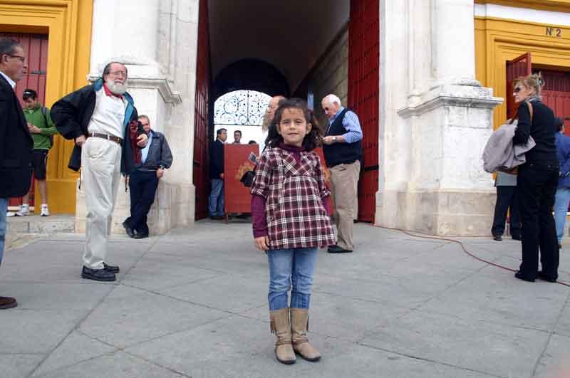 Esta joven aficionada, Cristina, comenzaba la tarde con muchas ganas...