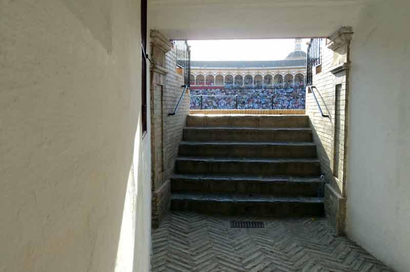 Una bocana y escalera de acceso a los tendidos del coso maestrante.