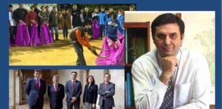 El delegado Javier Fernández posando en una visita a la Escuela de Camas y junto a los presidentes de la Maestranza; dos fotos en una misma semana enviada por su gabinete.