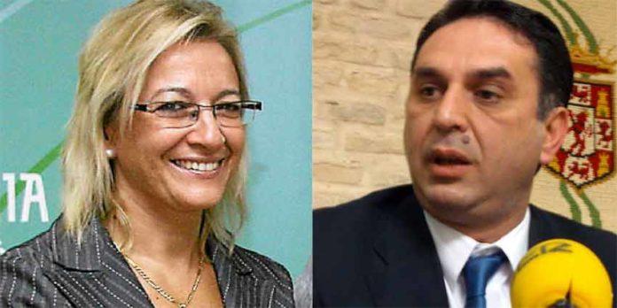 La ex delegada de la Junta, Carmen Tovar, y el actual, Javier Fernández, que parece seguir la nefasta senda de su antecesora.