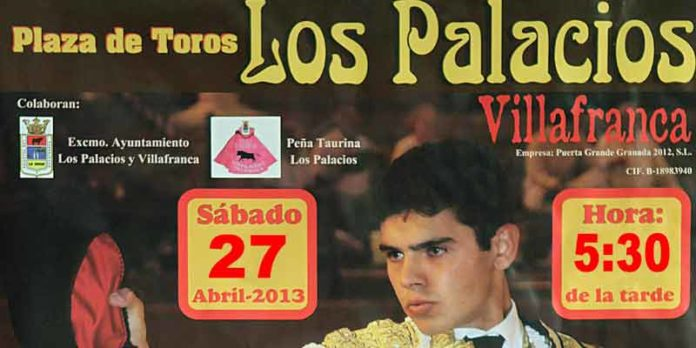 Cartel anunciador de la novillada de mañana sábado en Los Palacios.