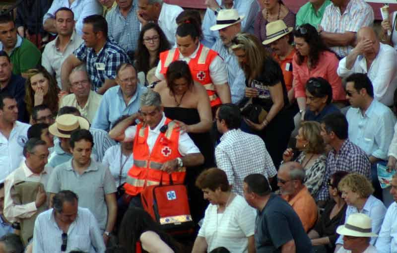 El intenso calor sobre Sevilla estos días, rozando los 40º, provoca alguna asistencia.