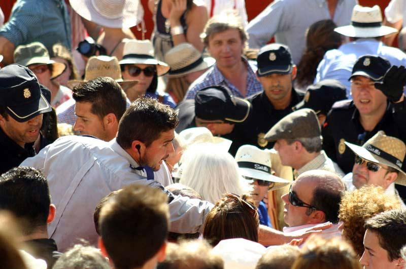 Varios miembros de la Policía y vigilantes de seguridad de la empresa Pagés intentan poner un poco de orden en los tendidos de sol.