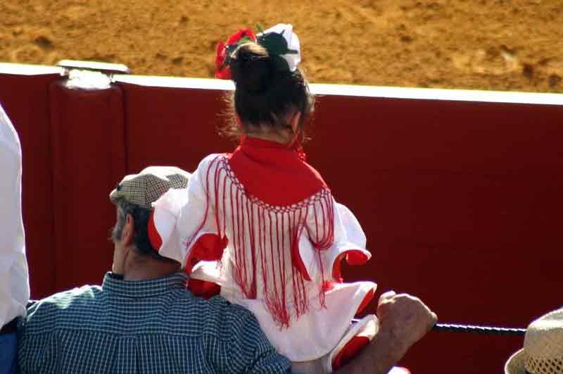 Ya van apareciendo por los tendidos de la plaza las primeras flamencas.