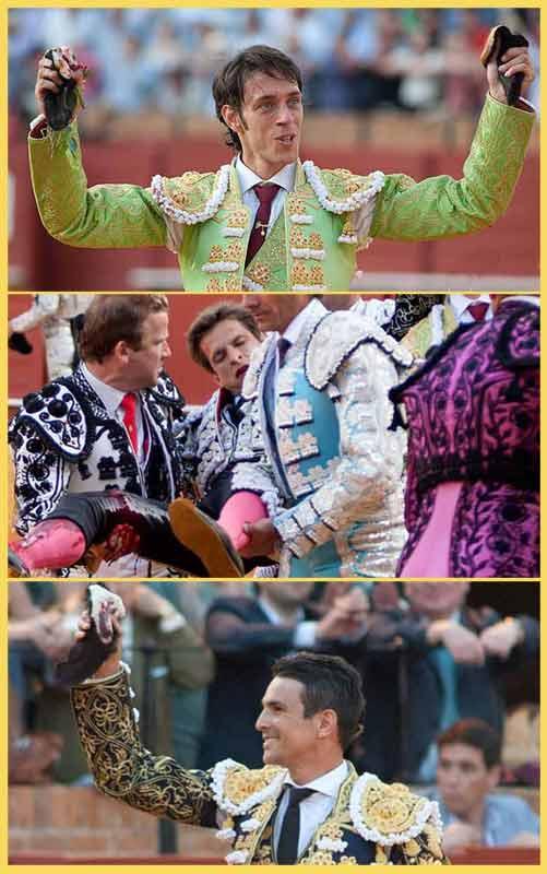 Cara y cruz de la Fiesta en la misma tarde: dos orejas para Nazaré, grave cornada de El Juli y una oreja para Manzanares. (FOTOS: lopezmatito.com)