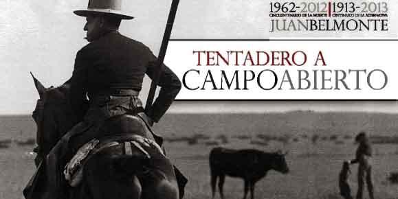Cartel anunciador, con la figura de Juan Belmonte en un tentadero a campo abierto.
