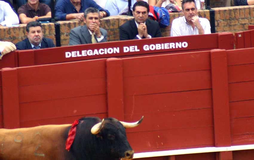 El delegado de la Junta de Andalucía, Javier Fernández, con chaqueta oscura, vio bien cerca el 'trapío' de los toros lidados.