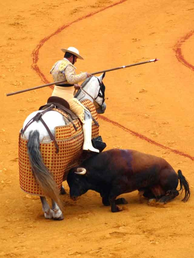 Imagen que refleja claramente la desastrosa corrida de Pereda lidiada hoy en la Maestranza. (FOTO: Javier Martínez)