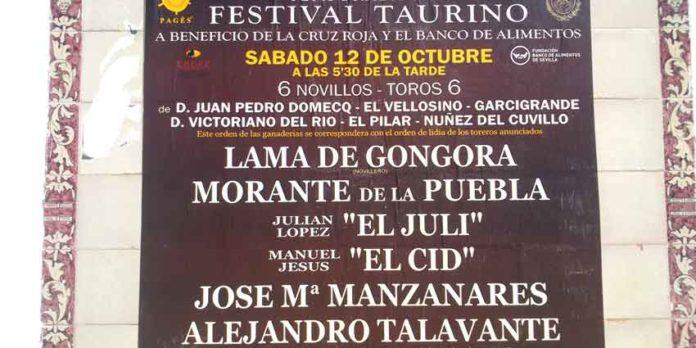 Lama de Góngora sigue apareciendo como cabecera de cartel del festival del sábado, sin aclaración alguna en contra por parte de la empresa, aunque Morante haya contradecido el orden del vigente cartel. ¿Nadie aclara la situación? (FOTO: Javier Martínez)