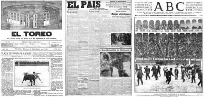 Portadas de diarios de la época. En la portada de 'ABC' se observa cómo el público irrumpe en el ruedo durante la lidia en la escandalosa corrida de Juan Belmonte.