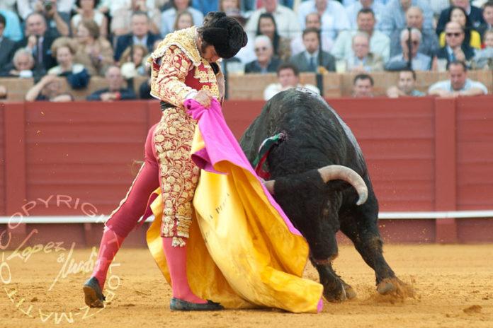 La espectacular media de Morante a un toro de Cuvillo el año pasado en la Feria de Abril; la próxima Feria no se podrá ver ni a Morante ni los toros de Cuvillo. (FOTO: lopezmatito.com)