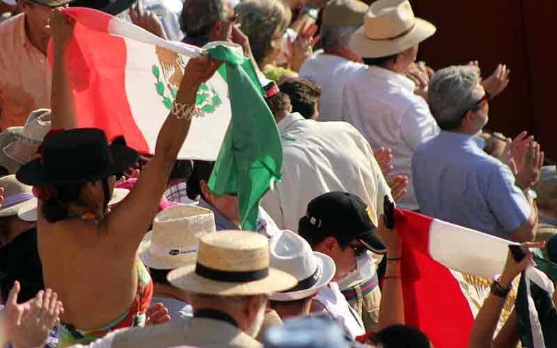 Banderas mexicanas para Adame.