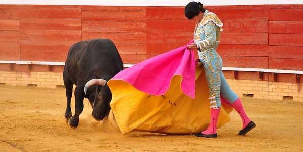 Lama de Góngora toreando hoy de capote en Huelva. (FOTO: Xosé Andrés)