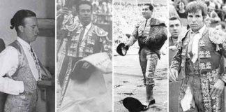 Pepe Luis, Curro Romero, Antonio Bienvenida y El Cordobés, toreros que hicieron paseíllo en 15 de agosto. (FOTO: ABC-Sevilla)