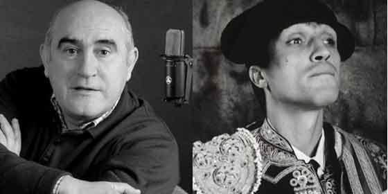 El periodista deportivo Sánchez Araújo y el diestro Emilio Muñoz.