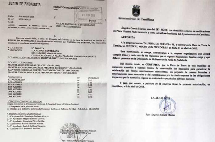 Autorizaciones de la Junta de Andalucía y el Ayuntamiento de Cantillana.