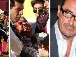 El Juli y Morante, ensangrentados tras ser cogidos, y el periodista Carlos Herrera.