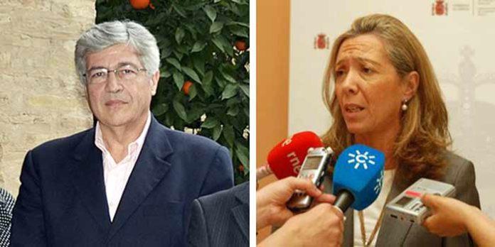 El delegado de la Junta de Andalucía (PSOE) en Sevilla, Juan Carlos Raffo, y la subdelegada del Gobierno central (PP) en Sevilla, Felisa Panadero.