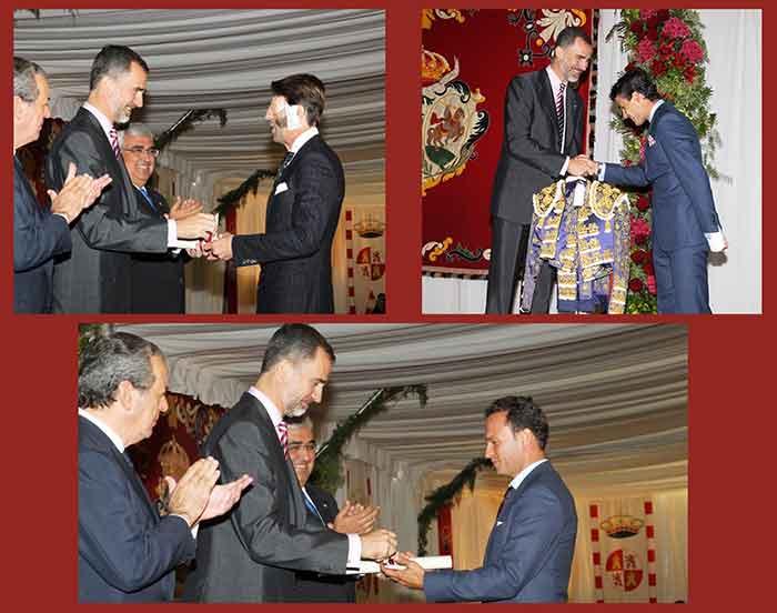 El Rey Felipe VI entrega los premios taurinos de la Real Maestranza por la temporada 2014 a Juan José Padilla, el sevillano Pablo Aguado y Antonio Ferrera. (FOTOS: Casa Real)