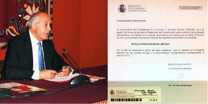 El empresario de la Maestranza, Ramón Valencia, y la Resolución del Ministerio de Economía de apertura de expediente sancionador.