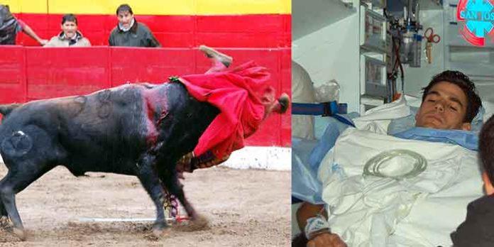 Cornada sufrida por Pablo Aguado hoy en Cadalso de los Vidrios y traslado del novillero sevillano al Hospital de Móstoles tras ser operado en la enfermería. (FOTO: Ángel Bravo/El rincón taurino)
