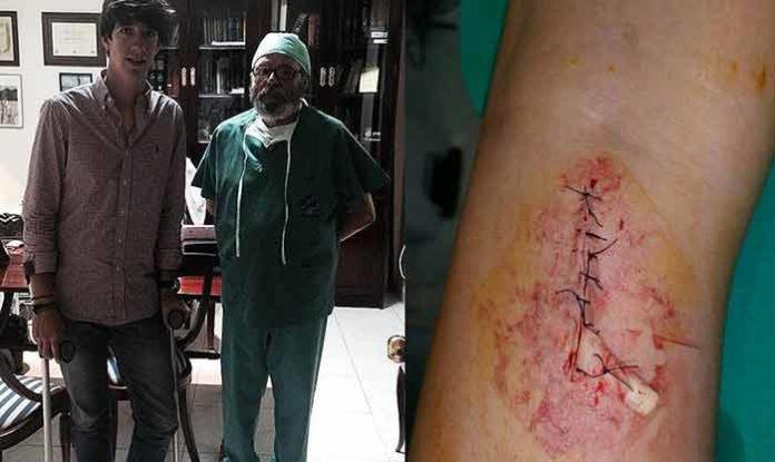 Esaú Fernández junto al cirujano tras la intervención, y detalle de la herida.