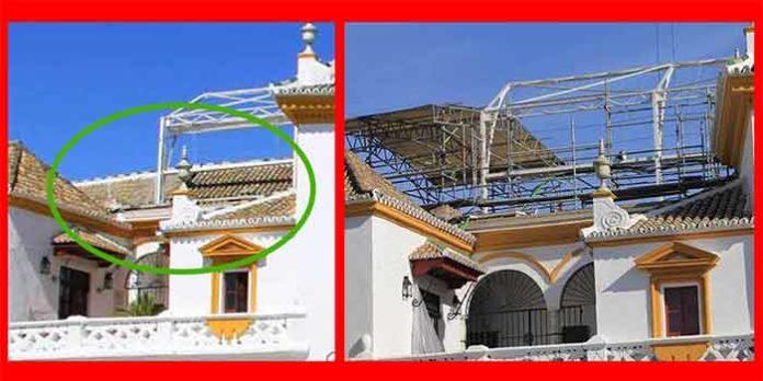 Un detalle de uno de los tejadillos antes y después de la demolición. (FOTOS: Javier Martínez)