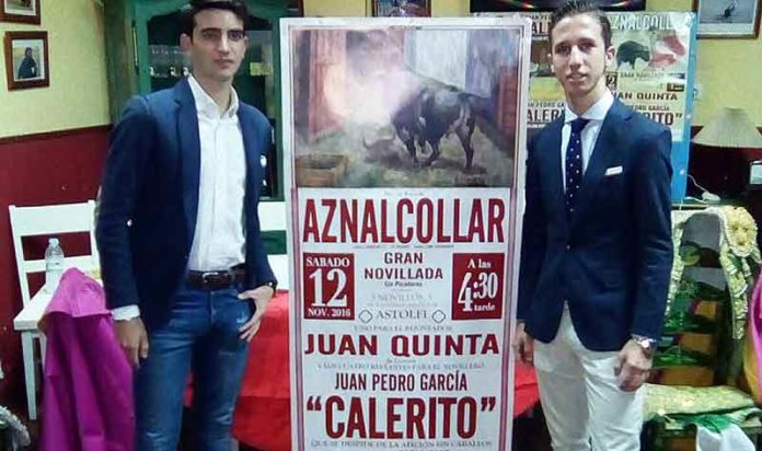 El rejoneador Juan Quinta y el novillero Calerito durante la presentación del cartel de Aznalcóllar.