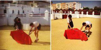 Curiosa imagen: a la izquierda, Dávila Miura le hace de toro a Pepe Moral, y a la derecha a la inversa.