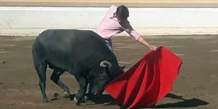 Antonio Nazaré, tentando en una ganadería mexicana.