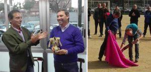 Luis de Pauloba recibe la distinción de manos de Lucio Sandín. A la derecha, deleitando a los aficionados catalanes con su toreo de salón.