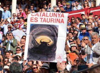 Cartel en apoyo a los toros en Cataluña el pasado Domingo de Resurrección en la Maestranza. (FOTO: Eduardo Porcuna)