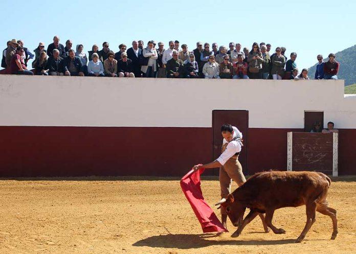 El grupo de aficionados sevillanos en la ganadería de Fuente Ymbro.