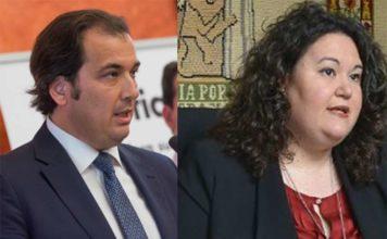 El presidente José Luque Teruel y la delegada de la Junta en Sevilla que lo nombra, Esther Gil.