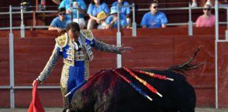 Salvador Cortés, toreando con gusto a su segundo toro de El Parralejo hoy en San Bartolomé de Pinares, al que le cortó la dos orejas. (FOTO: Ismael Díaz)